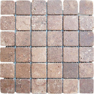 "Interceramic Mexican Travertine Chocolate Tumbled Mosaic 2"" x 2"""
