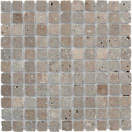 "Interceramic Mexican Travertine Chocolate Tumbled Mosaic 1"" x 1"""