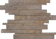 "Interceramic Mexican Travertine Chocolate Linear Insert Mosaic Honed/ Filled 12"" x 13"""