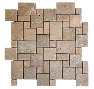 "Interceramic Mexican Travertine Chocolate Mini Versailles Pattern Mosaic Tumbled 12"" x 12"""