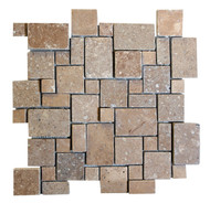 "Interceramic Mexican Travertine Chocolate 3-D Versailles Pattern Mosaic Tumbled 12"" x 12"""