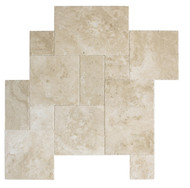 Interceramic Mexican Travertine Crema Imperial Versailles Pattern Chiseled/Brushed