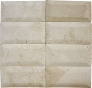 "Interceramic Mexican Travertine Crema Imperial Bisello Honed/Filled 3"" X 6"""