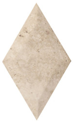 "Interceramic Mexican Travertine Crema Imperial Rhombus Bisello Honed/Filled 4"" X 7"""