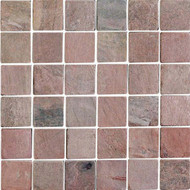 "Interceramic Tumbled Slate Copper Quartzite Mosaic 2"" x 2"""