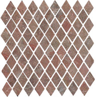 "Interceramic Tumbled Slate Copper Quartzite Diamond Mosaic 1 1/4"" x 2"""