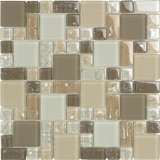 "Bellavita Glass Brillante Beige Mosaic Mixed Sizes 1"" x 1"", 2"" x 2"", 1"" x 2"""