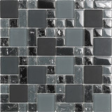 "Bellavita Glass Brillante Charcoal Mosaic Mixed Sizes 1"" x 1"", 2"" x 2"", 1"" x 2"""