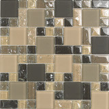 "Bellavita Glass Brillante Earth Mosaic Mixed Sizes 1"" x 1"", 2"" x 2"", 1"" x 2"""