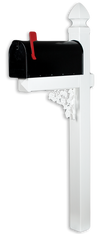 The Darlington Vinyl / PVC Mailbox Post - White (Includes Mailbox)