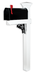 The Pocono Vinyl / PVC Mailbox Post - White (Includes Mailbox)