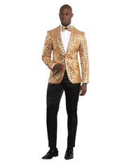 GOLD SEQUENCE SHAWL LAPEL JACKET (GT1S-5311-GOLD)