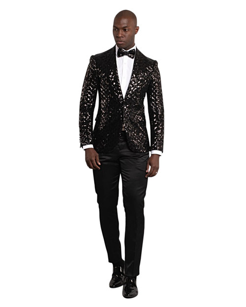 GOLD SEQUENCE SHAWL LAPEL JACKET (GT1S-5311-BLACK)