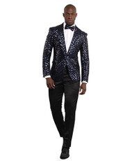 NAVY BLUE SEQUENCE SHAWL LAPEL JACKET (GT1S-5311-NAVY)