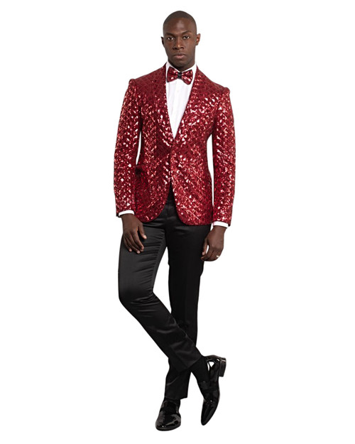 RED SEQUENCE SHAWL LAPEL JACKET (GT1S-5311-RED)