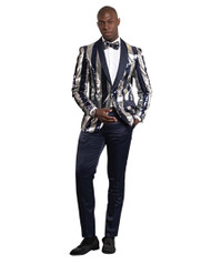 NAVY SILVER SEQUENCE SHAWL LAPEL JACKET (GT1S-YH-NAVY)