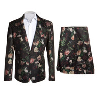 BLACK ANDREW FLORAL SUIT