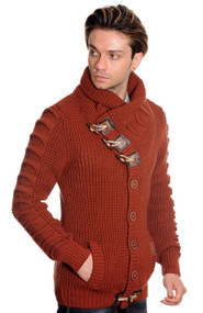 TABE BURNT ORANGE CARDIGAN BUTTON UP SWEATER
