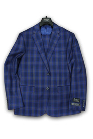 Talazzi By Luciano Carreli Blue Tan Plaid Windowpane 2 Piece Suit (8326-5062)