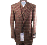New Rosso Burgundy Olive Wide Leg Pure Wool Suit (R7402/5-SUIT