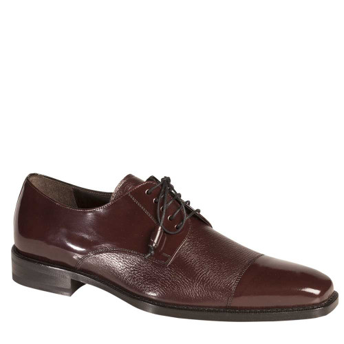 Mezlan Soka Burgundy Deerskin Cap Toe Shoes (15089-SOKA-BURGUNDY)