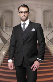 Tzalari Classic Black 3PC 2 Button Suit Big and Tall