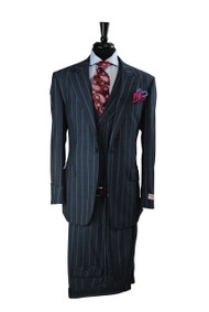 Tiglio Blue/Grey With Light Blue Wide Pinstripe 3 Piece Suit (RS5462/2)