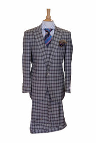 Tiglio Beige Khaki Brown Checkered 3 Piece Suit (FT1303/1)