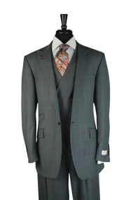 Tiglio Gray Birdseye Teal Windowpane 3 Piece Suit (FT1297/1)