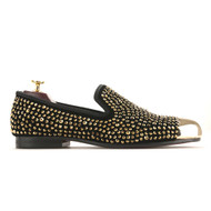 Travis Alexander Black Gold Rhinestone Metal Cap Velvet Loafer Shoes