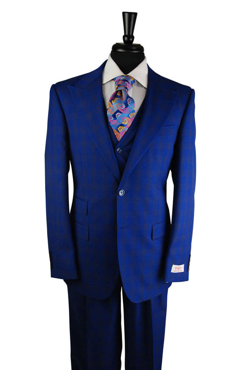 Tiglio Electric Royal Blue Checkered Plaid 3 Piece Suit (RS63104/4)