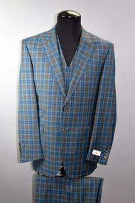 Tiglio Rosso Portofino Teal Grey Plaid 2 Button 3 Piece Suit