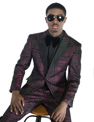 Travis Alexander Bespoke Purple Black Suit