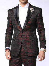 Travis Alexander Bespoke Red Black Suit