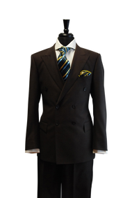 Luciano Carreli Couture Brown Double Breasted Wool Suit