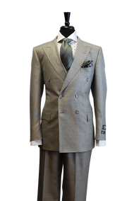Luciano Carreli Couture Grey Double Breasted Wool Silk Suit