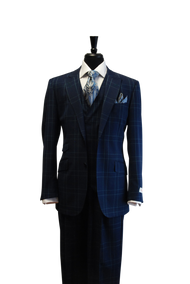 Tiglio Rosso Portofino Navy Teal Prince of Whales 2 Button 3 Piece Suit
