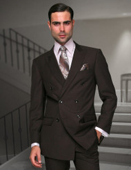 TZALARI BROWN DOUBLE BREASTED SUIT (TDZ-100-BROWN)