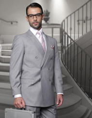 TZALARI GREY DOUBLE BREASTED SUIT (TDZ-100-GREY)