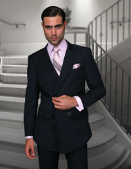 TZALARI NAVY BLUE DOUBLE BREASTED SUIT (TDZ-100-NAVY)