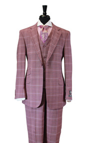 Luciano Carrelli Burgundy Purple Plaid Wool 3 Piece Suit (6298-9456)