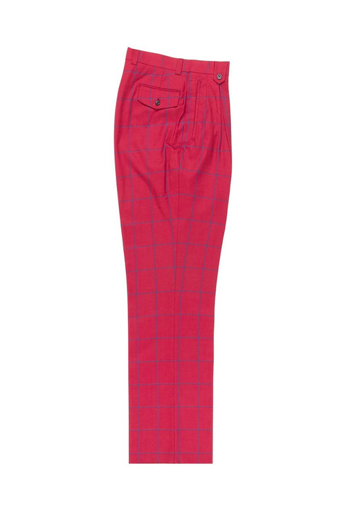 Red with Blue Windowpane Wide Leg, Wool Dress Pant 2586/2576 by Tiglio Luxe 38.419/1