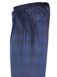 Tiglio Blue Navy Plaid Wide Leg Pants/Slacks (RS4256/2)