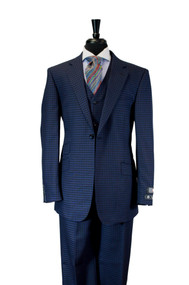 Luciano Carrelli Navy Blue Checkered Wool 3 Piece Suit (6298-2097)