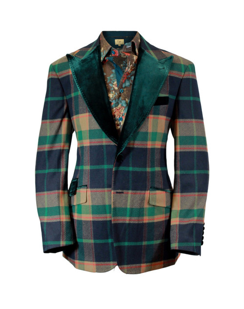 Cigar Couture Green Tan Red Plaid Single Breasted Blazer