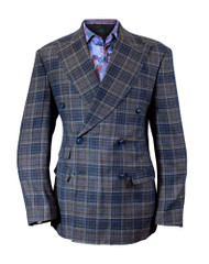 Cigar Couture Blue Brown Plaid Double Breasted Blazer (J-1883-BROWN)
