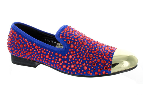 Fiesso Royal Red Rhinestone Gun Metal Tip Slip on Loafer (FI6918-MIDBLUE)
