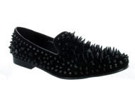 Fiesso Black Suede Spike Slip-on Loafer (FI7067-BLACK)