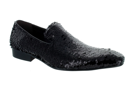 Fiesso Black Sequence Slip-on Loafer (FI7102-BLACK)