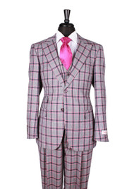 Tiglio Blue Magenta/Red Navy Plaid 3 Piece Suit (44268/2)